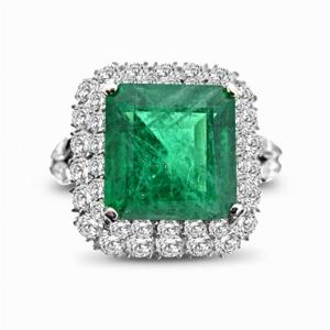 Emerald Octagon & Diamond Cluster 5.11ct